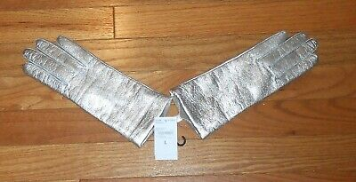 Women's Lands End Metallic Gunmetal Cashmere Lined Leather Gloves - Size Large