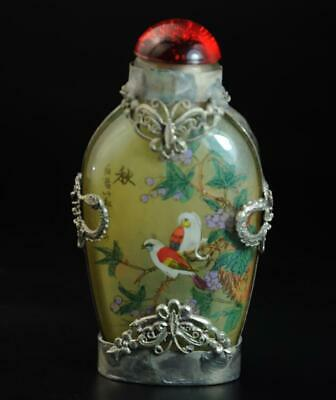 China Old Miao Silver inlay Glass painted autumn flower bird snuff bottle /Ba02