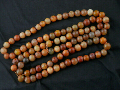 54 Inches Great Chinese Old Jade Round Beads Prayer Necklace P070