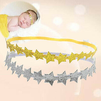 Newborn Infant Girl Glitter Star Headband Baby Shower Stretchable Hair Band Char