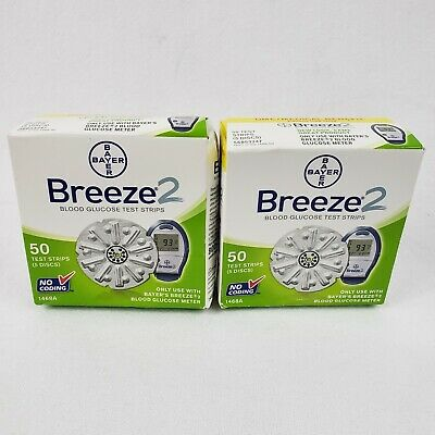 2 BOXES Bayer Breeze 2 Blood Glucose Test Strips Exp: 2017/05 100 STRIPS TOTAL 1