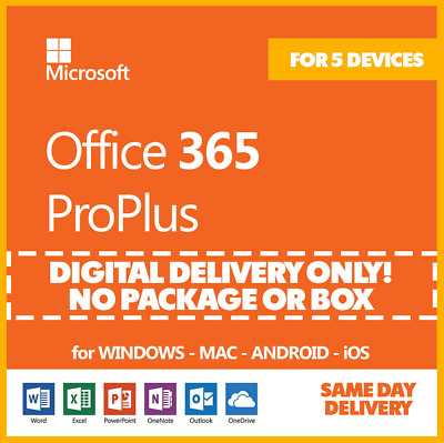 MS Office365 ProPlus 5PC/MAC New Account - Lifetime - Complete office2019/2016