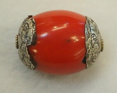 Antique Red Coral Flower Decorated Sterling Silver Capped Nepalese Bead Pendant