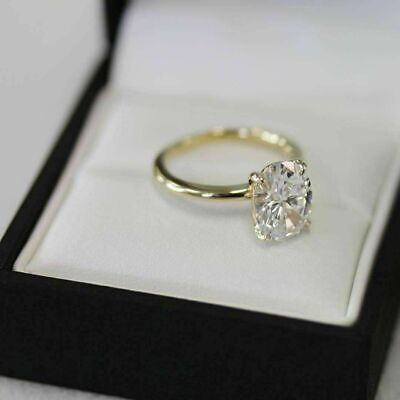 Solitaire 2.50 Ct White Oval Cut Moissanite Engagement Ring 14k Yellow Gold Over