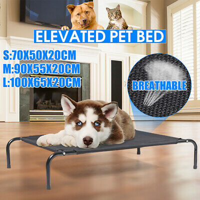 Large Elevated Pet Dog Cat Bed Lounger Sleep Cot Steel Frame Mat for