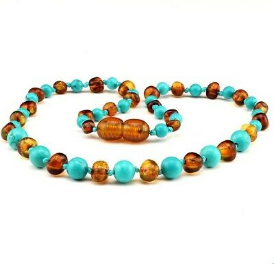Amber Necklace - Turquoise & Butterscotch Amber