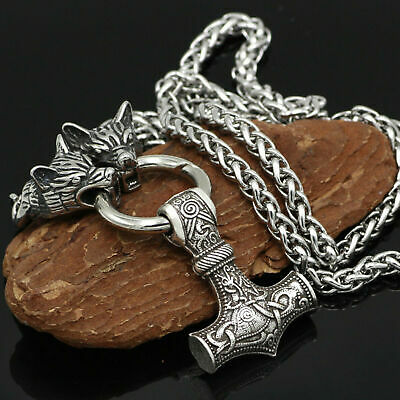 Men's Stainless Steel Norse Viking Wolf&Thor hammer Mjolni Pendant Necklace
