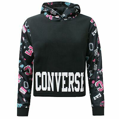 Converse Junior Girls Printed Cropped Pullover Hoodie Sweatshirt 466940 02