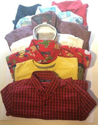 Boys Age 7-8 Clothing Bundle 8 items Next M&S TU Red Shirts T.Shirt Black Shorts