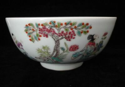 "Rare Antique Chinese Famille Rose Hand Painting Porcelain Bowl ""XianFeng"" Marks"