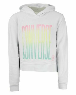 Converse Junior Girls Ombre Cropped Hoodie Sweatshirt White 466724 001