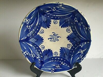 Vntg  Antique Blue White French Faience Italian Maiolica Ceramic Charger Plate