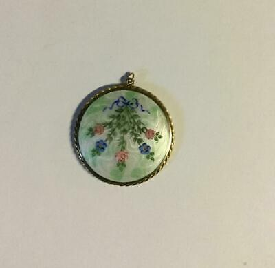 Vintage Beautiful Guilloche Enamel Bow Leaves Roses Pendant Powder Compact