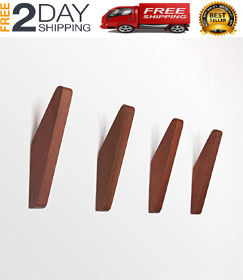 Mid-Century Coat Hooks Modern Teak Wood Wall Office Products Pack of 4