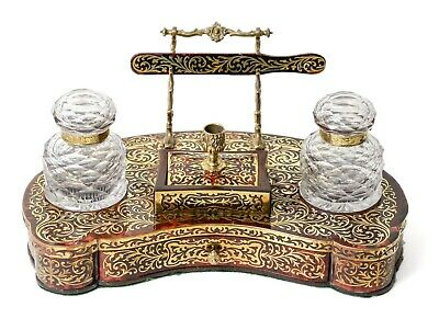 Antique English Boulle Ware Twin Ink Well Inkstand - Lockwood of London c1860