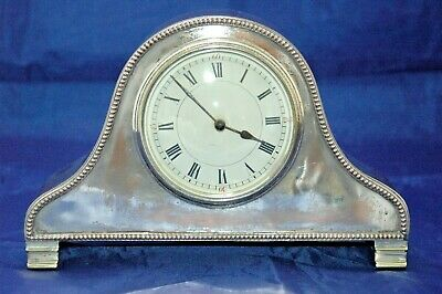 Antique Post War French Silver Plated On Copper Mantle Clock.