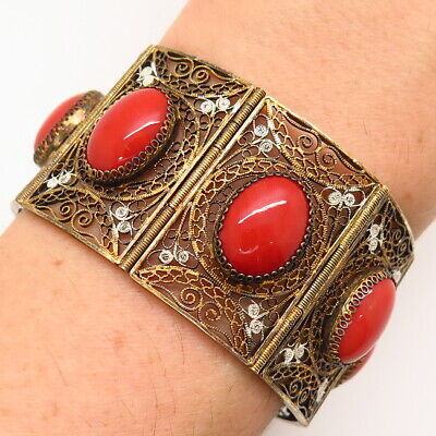 Antique Asia 800 Silver Gold Tone Real Coral Chinese Handmade Filigree Bracelet