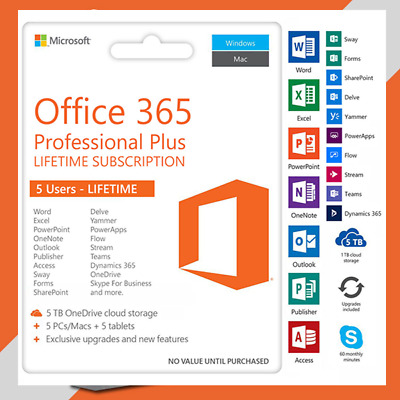 Microsoft Office 365 Pro 5PC*MAC Lifetime -New Account-Complete office-2019/2016