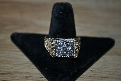14 K yellow gold mans diamond ring size 12 one carat total in 5 stones 10.5 G