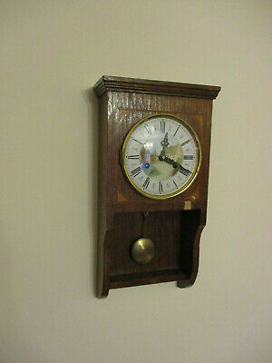 Retro German FHS Movement Wall Clock Two Bar Chime Inlaid Oak Case Working