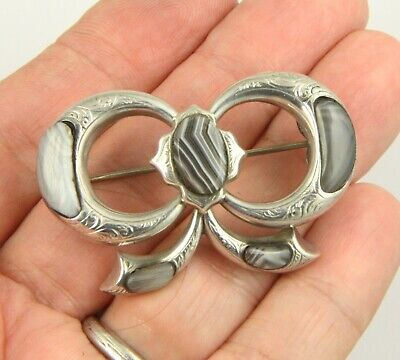 Superb large antique Victorian 1890 bow design silver Scottish agate brooch pin