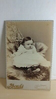 Antique c1890 Cabinet Card Photo Beautiful Infant, Beals Studio Sacramento CA