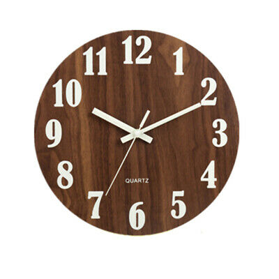Large Round Wooden Wall Clock Vintage Retro Antique Distressed Chic Hanging Deco