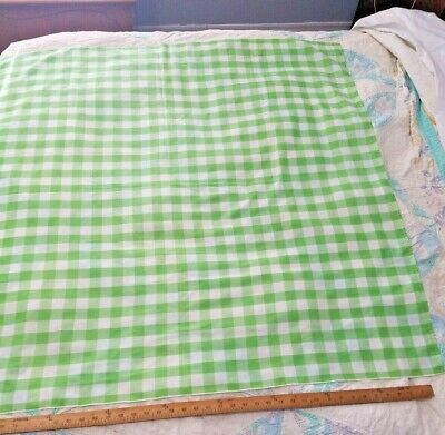 """Vintage Green & White Gingham Check Cotton Tablecloth 44"""" Square"""