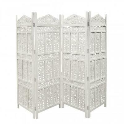 Aesthetically Carved 4 Panel Wooden Partition Screen/Room Divider, Distressed Wh