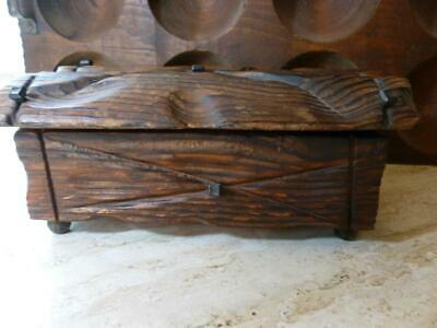 Vintage Hand Carved Wood Box Spanish Gothic Medieval Nail Stud Mid Century Mod