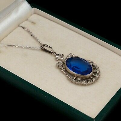 Antique Vintage Art Deco Sterling Silver Sapphire Paste Faux Marcasite Necklace