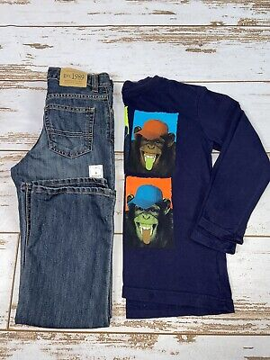 Lot Of 2 Children's Place Blue Jeans Denim Size 8 Boys Shirt Size 7/8