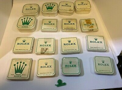 Lot of 16 Genuine Rolex Watchmakers Parts Storage Tins Dial Bezel/Movement