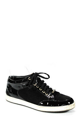 Jimmy Choo Womens Patent Leather Lace Up Fashion Sneakers Black Size 38 8