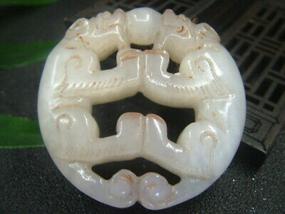Antique Chinese Nephrite Celadon-Hetian -OLD-Whte Jade 2-TIGER Statue/Pendant