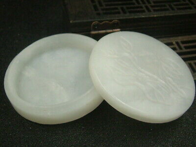 Antique Chinese Nephrite Celadon-Hetian-White Jade  Jewelry box  Statue