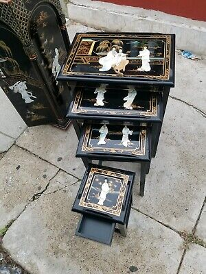 Orientals Black Lacquer Nest Tables Chinese Furniture 4 Tables And a Stand