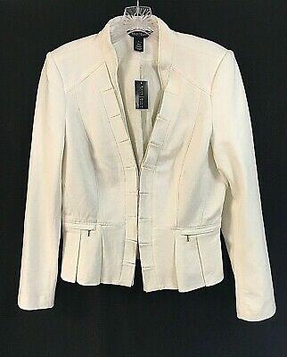White House Black Market Women's White 12 Peplum Pleated Lined Jacket Blazer NWT
