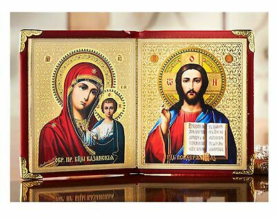 Icon Diptych Jesus Christ The Teacher and Virgin Mary Our Lady of Kazan Gift