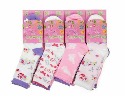Girls Cotton Bows Flowers Socks Cute Pattern Design Socks Back to School 12 Pair