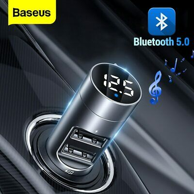 Baseus FM Transmitter Wireless Bluetooth 5.0 Car Kit MP3 Player Dual USB Charger