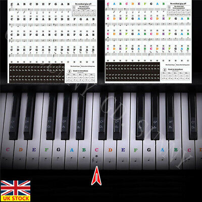 Piano Stickers Keyboard Music Note Chart Removable Decal 49, 61, 76, 88 Keys UK