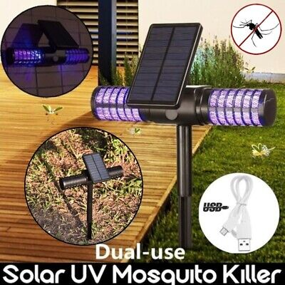 USB IP65 Solar Powered Mosquito Fly Bug Insect Zapper Killer Trap Lamp Outdoor