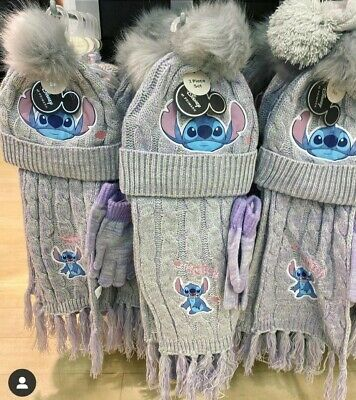 Disney Lilo And Stitch 💙💙💙Girls Hat, Gloves And Scarf Set...so Cute!  M-L