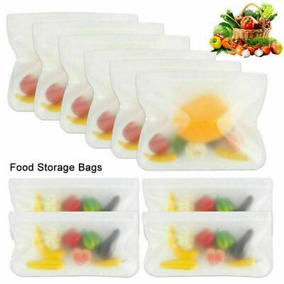 5X Kitchen Fresh Zip Lock Bags Reusable Silicone Food Freezer Storage Ziplock UK