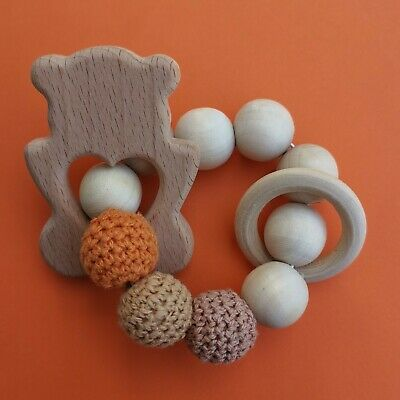 Sensory Wooden Teething Ring Toy Baby Shower crochet cotton Natural Beech Wood