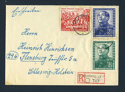 EAST GERMANY 1951 Friendship With China Set on Cover BRANDENBURG to FLENSBURG