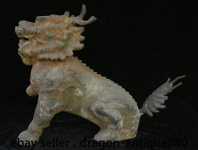 """16"""" Chinese Old Antique Bronze Feng Shui Beast Dragon Kylin Chi-lin Qilin Statue"""