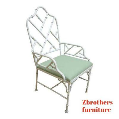 Vintage French Regency Metal Faux Bamboo Desk arm Chair Mid Century Louis Xv