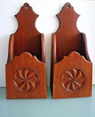 Pair of Mahogany Arts & Crafts Wall/Freestanding Candle Boxes 15 1/2'' (40cm) Ta